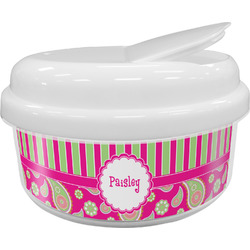 Pink & Green Paisley and Stripes Snack Container (Personalized)