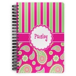 Pink & Green Paisley and Stripes Spiral Bound Notebook (Personalized)
