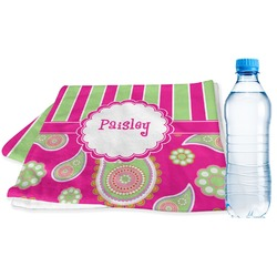 Pink & Green Paisley and Stripes Sports Towel (Personalized)