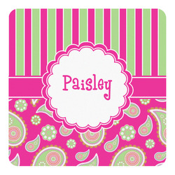 Pink & Green Paisley and Stripes Square Wall Decal (Personalized)