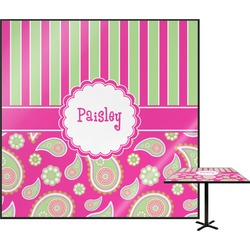 """Pink & Green Paisley and Stripes Square Table Top - 24"""" (Personalized)"""