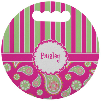 Pink & Green Paisley and Stripes Stadium Cushion (Round) (Personalized)