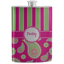 Pink & Green Paisley and Stripes Stainless Steel Flask (Personalized)