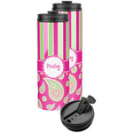 Pink & Green Paisley and Stripes Stainless Steel Skinny Tumbler (Personalized)