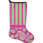 Pink & Green Paisley and Stripes Holiday Stocking - Neoprene (Personalized)