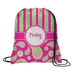 Pink & Green Paisley and Stripes Drawstring Backpack (Personalized)