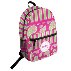 Pink & Green Paisley and Stripes Student Backpack (Personalized)
