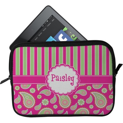 Pink & Green Paisley and Stripes Tablet Case / Sleeve - Small (Personalized)