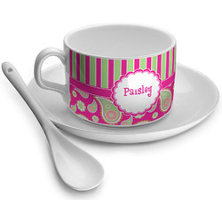 Pink & Green Paisley and Stripes Tea Cups (Personalized)