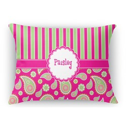 Pink & Green Paisley and Stripes Rectangular Throw Pillow (Personalized)