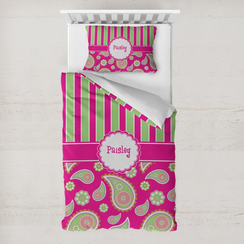 pink green paisley and stripes duvet cover set toddler. Black Bedroom Furniture Sets. Home Design Ideas