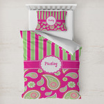 Pink & Green Paisley and Stripes Toddler Bedding w/ Name or Text