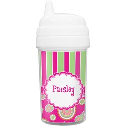 Pink & Green Paisley and Stripes Sippy Cup (Personalized)