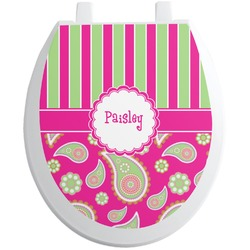 Pink & Green Paisley and Stripes Toilet Seat Decal (Personalized)