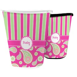 Pink & Green Paisley and Stripes Waste Basket (Personalized)
