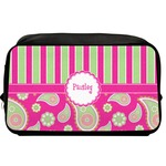 Pink & Green Paisley and Stripes Toiletry Bag / Dopp Kit (Personalized)