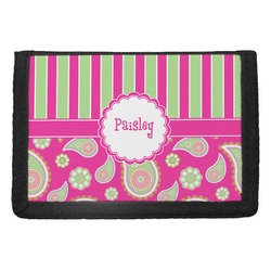 Pink & Green Paisley and Stripes Trifold Wallet (Personalized)