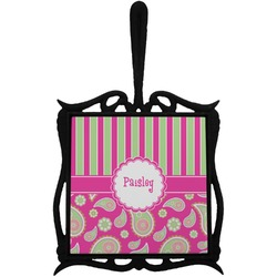 Pink & Green Paisley and Stripes Trivet with Handle (Personalized)