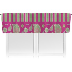 Pink & Green Paisley and Stripes Valance (Personalized)