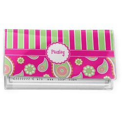 Pink & Green Paisley and Stripes Vinyl Checkbook Cover (Personalized)