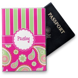 Pink & Green Paisley and Stripes Vinyl Passport Holder (Personalized)