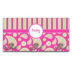 Pink & Green Paisley and Stripes Wall Mounted Coat Rack (Personalized)