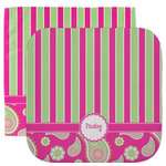Pink & Green Paisley and Stripes Facecloth / Wash Cloth (Personalized)