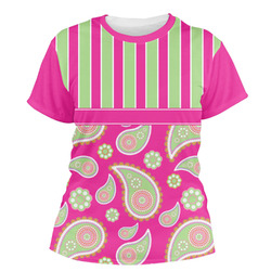 Pink & Green Paisley and Stripes Women's Crew T-Shirt (Personalized)