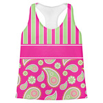 Pink & Green Paisley and Stripes Womens Racerback Tank Top (Personalized)