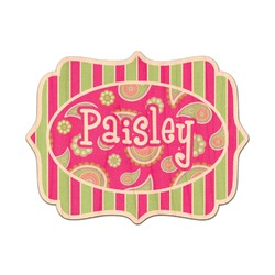 Pink & Green Paisley and Stripes Genuine Wood Sticker (Personalized)