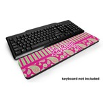 Pink & Green Paisley and Stripes Keyboard Wrist Rest (Personalized)