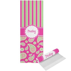 Pink & Green Paisley and Stripes Yoga Mat - Printed Front (Personalized)