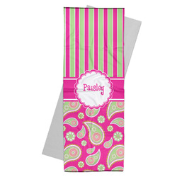 Pink & Green Paisley and Stripes Yoga Mat Towel (Personalized)