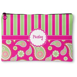 Pink & Green Paisley and Stripes Zipper Pouch (Personalized)