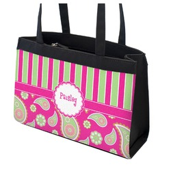 Pink & Green Paisley and Stripes Zippered Everyday Tote (Personalized)