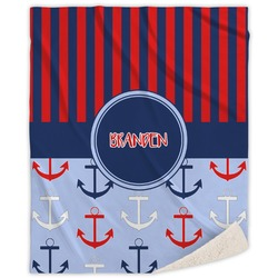 Classic Anchor & Stripes Sherpa Throw Blanket (Personalized)