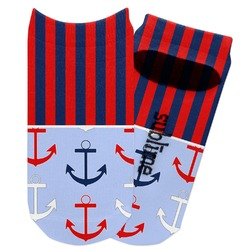 Classic Anchor & Stripes Adult Ankle Socks (Personalized)