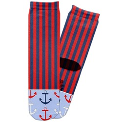 Classic Anchor & Stripes Adult Crew Socks (Personalized)