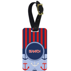 Classic Anchor & Stripes Metal Luggage Tag w/ Name or Text