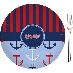 "Classic Anchor & Stripes Glass Appetizer / Dessert Plates 8"" - Single or Set (Personalized)"