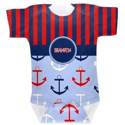 Classic Anchor & Stripes Baby Bodysuit (Personalized)