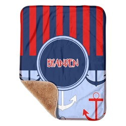 "Classic Anchor & Stripes Sherpa Baby Blanket 30"" x 40"" (Personalized)"