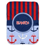 Classic Anchor & Stripes Baby Swaddling Blanket (Personalized)