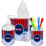 Classic Anchor & Stripes Acrylic Bathroom Accessories Set w/ Name or Text