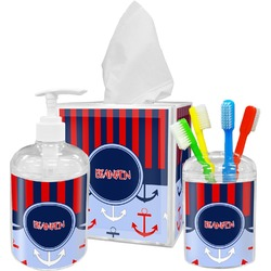 Classic Anchor & Stripes Bathroom Accessories Set (Personalized)