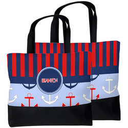 Classic Anchor & Stripes Beach Tote Bag (Personalized)