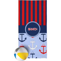 Classic Anchor & Stripes Beach Towel (Personalized)