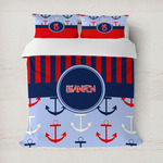 Classic Anchor & Stripes Duvet Cover (Personalized)