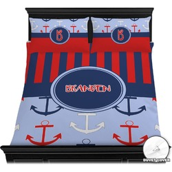 Classic Anchor & Stripes Duvet Cover Set (Personalized)