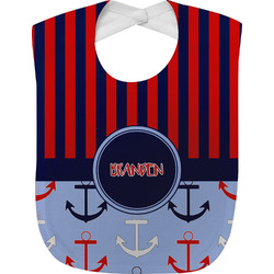 Classic Anchor & Stripes Baby Bib (Personalized)